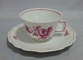 Antique Augarten Wien Porcelain Demitasse Cup and Saucer Set Roses Pattern - $23.76
