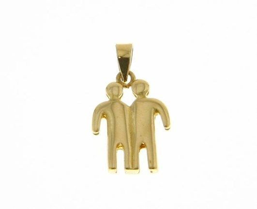 SOLID 18K YELLOW GOLD ZODIAC SIGN PENDANT, ZODIACAL CHARM, GEMINI MADE IN ITALY