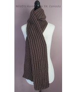 75 Inch Ribbed Scarf Knitted Acrylic Scarf Taupe Color - $27.00