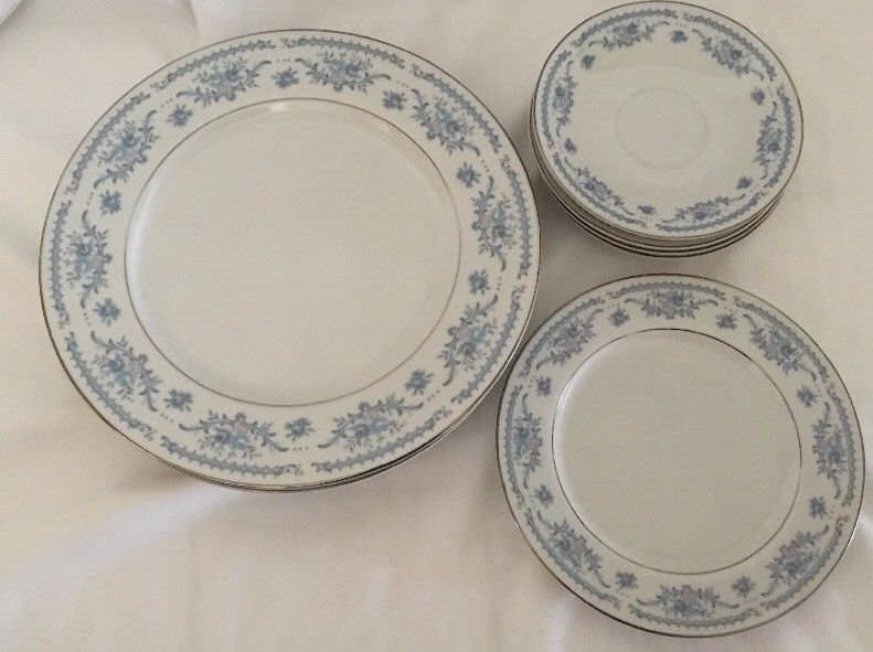 Winsford Ekco Fine China Blue And Pink Japan Plates Saucers image 6