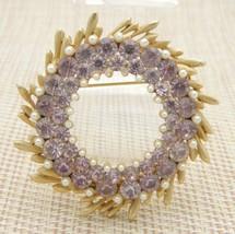 BSK Pink Rhinestone Faux Pearl Large Wreath Vintage Pin Brooch Gold Tone - $26.72