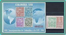 COLOMBIA 1981 UPU + S/S  SC#C715-16 MNH BIRDS, ARMS, STAMP on STAMPS - $6.44
