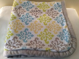 Blankets And Beyond Damask Scroll Blanket Yellow Blue Green Gray Trim - $27.72