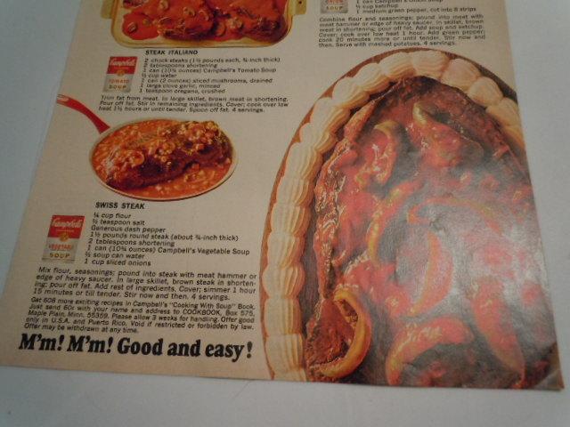 Vintage Campbell's Soup Let'em Eat Steak Print Magazine Advertisement 1968