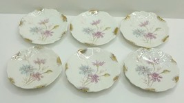 German Butter Pats Lot of 6 Floral with Gold Trim Scroll Relief Weimar G... - $33.74