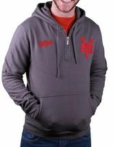 Zoo York 1/4 Zip Charcoal Grey with Red Felt ZY Logo Patch Pullover Hoodie NWT image 1