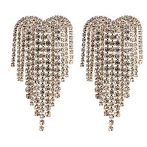 Rhinestone statement earrings for women Big heart crystal fringe Drop Ea... - $16.80