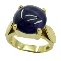 attractive Amethyst Gold Plated Purple Ring Natural normaly US gift - $17.99