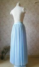 Light Blue Wedding Tulle Skirt High Waisted Full Long Tulle Skirt image 3