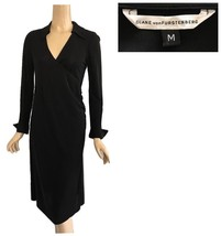 DVF Diane Von Furstenberg Black Surplice Top Jersey Dress M - $158.00