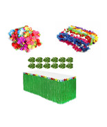 HAWAIIAN LUAU Beach PARTY Decoration Set 24 Flowers 1 Grass Table Skirt ... - $20.56