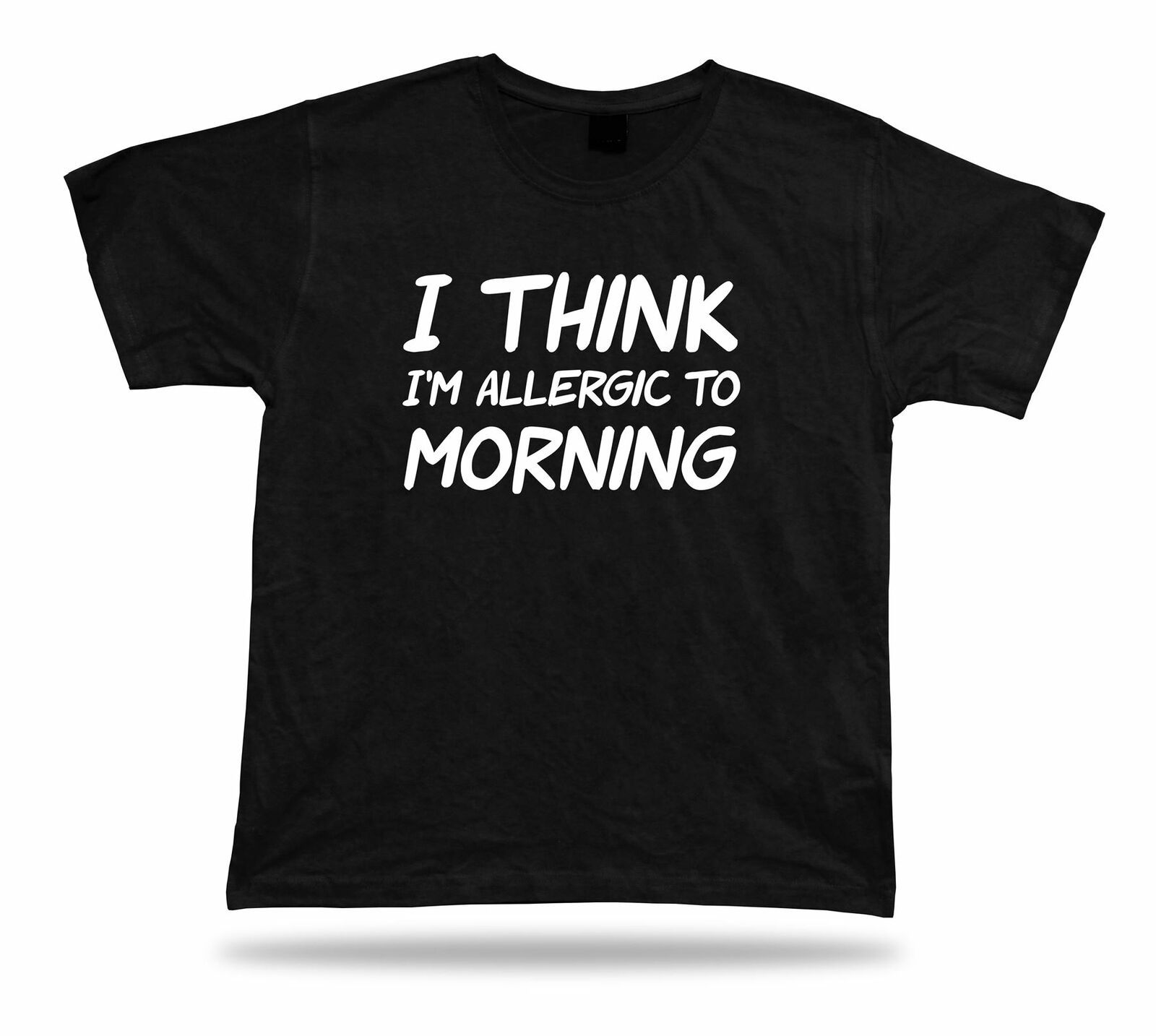 Primary image for T shirt Shirt Birthday Gift Idea Funny Quote Allergic to Morning Sleep TiBlack