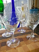 Fostoria Glass Nosegay Water Goblets Set Of 4 Polished Cut Floral - $49.45