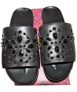 Tory Burch Brae Crystal Leather Slide Sandals Flat Mules Black Leather 9... - $135.00