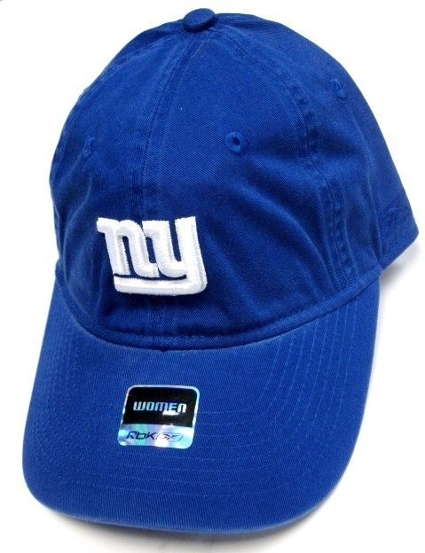 4261d792583 New York Giants NFL Reebok Blue Relaxed Slouch Hat Cap Women s White NY Logo