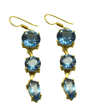 Blue Gold Plated Fashion cute Blue Topaz CZ indian Earring UK gift - $10.53