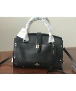 Coach 37779 Mercer 24 Black Grain Leather Satchel Crossbody Handbag NWT ... - $217.79