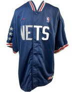 Nike Team, New Jersey NETS, Navy, Snap Front Warm Up Jersey, Men's Sz 80 - $47.49