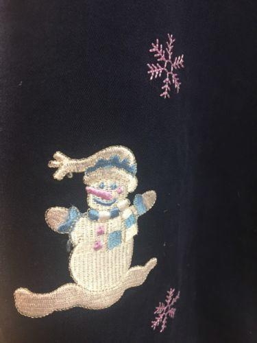 Fashion Classics Navy Blue Winter Snowman Embroidered Sleeveless Dress Jumper L