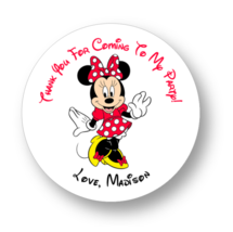 30 Minnie Mouse birthday party stickers,favors,labels,tags,shower,red,lo... - $8.99