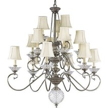 Crystal Chandelier Ivory Candles Pleated Fabric Shade Progress Lighting ... - $1,527.43