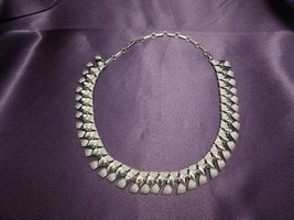 Vintage Coro Silvertone Textured Link Choker Necklace - $22.28