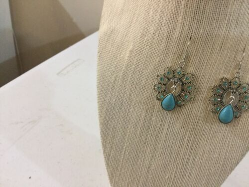 Primary image for Genuine Turquoise And Rhinestone Peacock Earrings