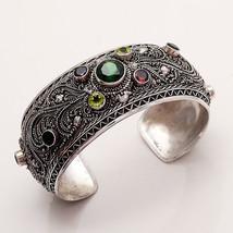 MaioHmong Handwork 925 Sterling Silver Designer Multi Gemstone Handcuff ... - $80.04