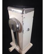 Vtg Ice-O-Matic White Ice Crusher Chrome Manual Hand Crank Retro Kitchen... - $19.79