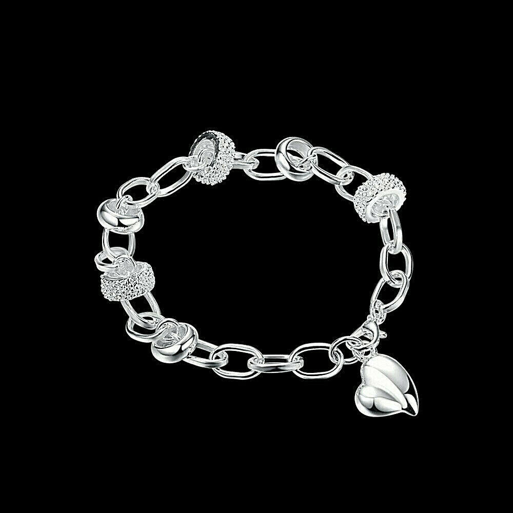Primary image for Beaded Heart Chain Bracelet 925 Sterling Silver NEW