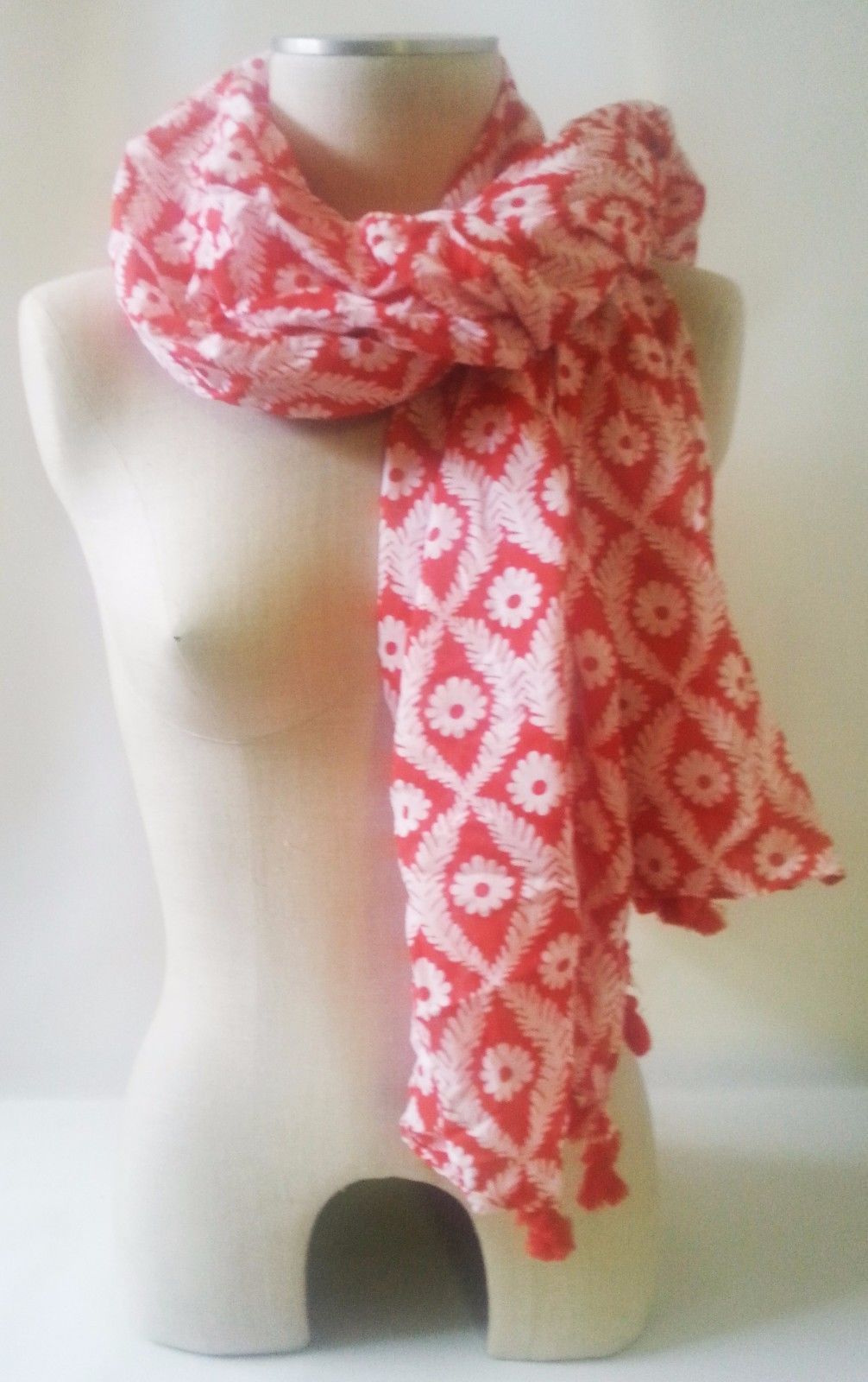 "Stella & Dot Capri Wrap Geranium Pink Floral Cotton Blend 44""x54"" Scarf With bag"