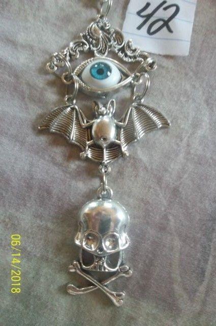 # purse jewelry Halloween Evil Eye keychain backpack filigree dangle charm #42 image 2