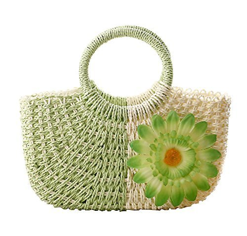 Fashion Vacation Item/Bi-color Series Meganium Straw Hand Bag/ Beach Bag/Green