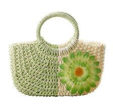 Fashion Vacation Item/Bi-color Series Meganium Straw Hand Bag/ Beach Bag/Green