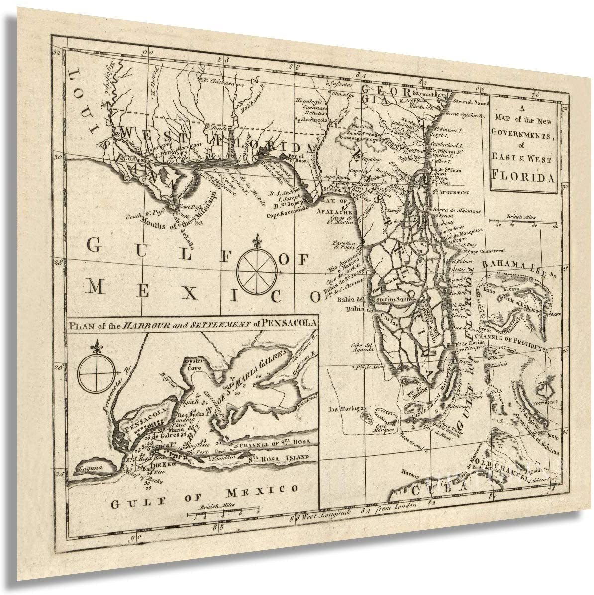 1763 East & West Florida Map - Vintage Map Wall Art - A Map of the New Governmen - $34.99 - $39.99
