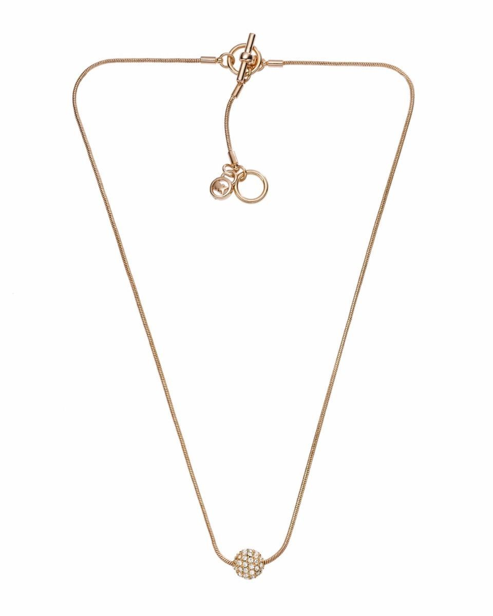 Primary image for Michael Kors MK1528 Metallic Golden Necklace with Pave Fireball Detail BNWT $145
