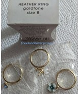 Ring Heather Three Piece Blue Stackable Ring Goldtone ~ Size 8 ~ (NEW Bo... - $19.75