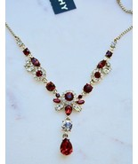 NWT- Givenchy Gold-Tone Red & Clear Crystal Y Necklace - $47.52