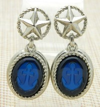 Trifari TM Blue Acrylic Nautical Anchor Silver Tone Post Dangle Earrings - $53.46