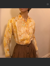 vintage 60's  Yellow  floral shirt - $22.44