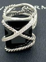 David Yurman 925 Diamonds Wrap 20x15mm Black Onyx Ring Sz 7 - $1,103.43