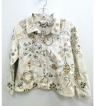 Laura Ashley Petite Womens Medium Jacket Cream Brown Embroidered Floral B4 - $19.99