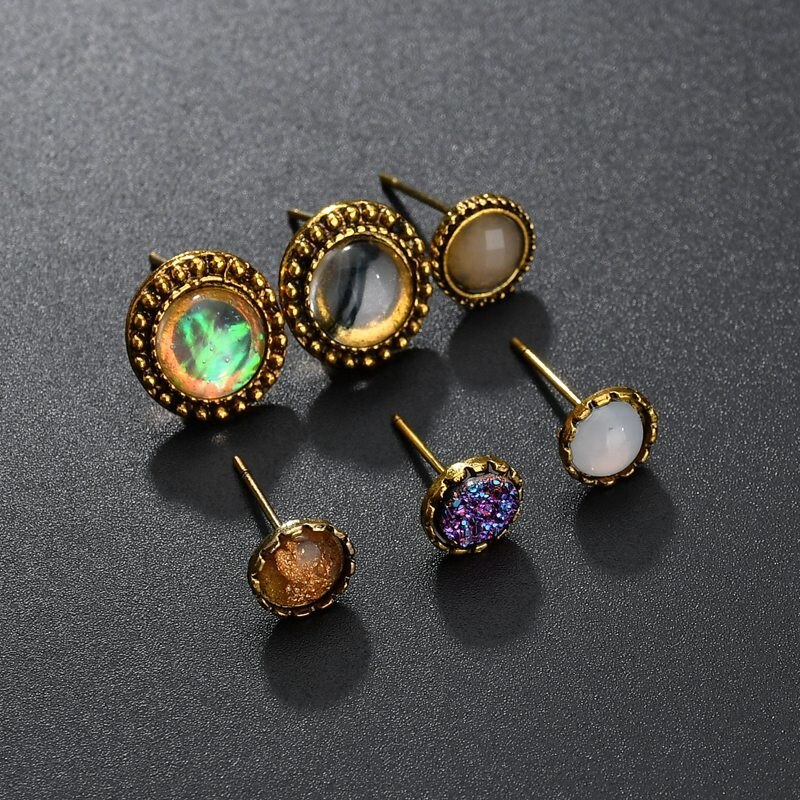 BAHYHAQ - 6 set Vintage Stud Earrings Colorful Rhinestone Round Earrings