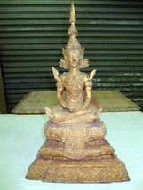 SO Big RARE!Ancient Gold Pra Ratanakosin Top Powerful Statue Thai Buddha... - $199.99