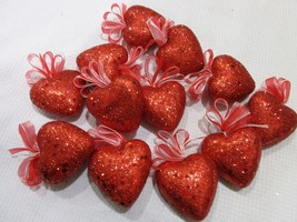 "Valentines Day Red Glitter Hearts 2"" Ornaments Decorations Decor Set of 12 - $14.99"
