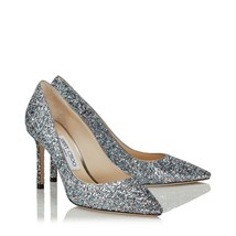 Jimmy Choo Bubblegum Mix Coarse Glitter Fabric Pointy Toe Pump Size 41.5 - €366,62 EUR