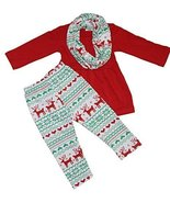 Unique Baby Girls 3 Piece Matching Deer Legging Set (5T) Red - $26.99