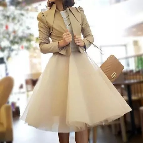 Nude White Gray Knee Length High Waist A-line Tulle CIRCLE SKIRT Lady Tutu Skirt