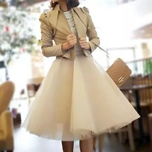 Nude White Gray Knee Length High Waist A-line Tulle CIRCLE SKIRT Lady Tutu Skirt image 1