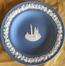 """WEDGEWOOD 4 1/2"""" wide blue English marked and signed dish with white design - $9.50"""